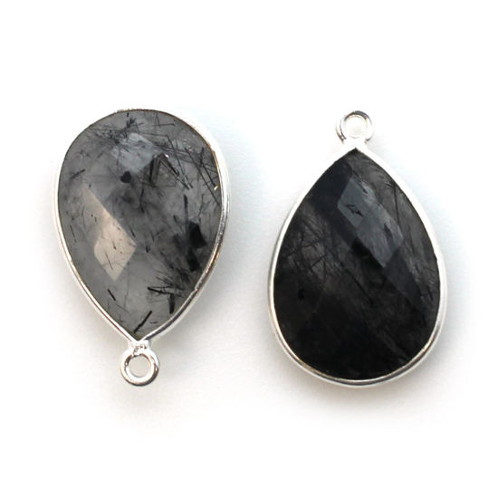 Wholesale Sterling Silver Teardrop Bezel Black Rutilated Quartz Gemstone Pendant, Wholesale Gemstone Pendants for Jewelry Making
