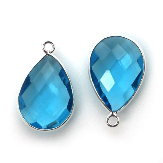 Wholesale Sterling Silver Teardrop Bezel Blue Topaz Quartz Gemstone Pendant, Wholesale Gemstone Pendants for Jewelry Making