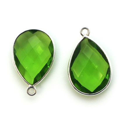 Wholesale Sterling Silver Teardrop Bezel Peridot Quartz Gemstone Pendant, Wholesale Gemstone Pendants for Jewelry Making