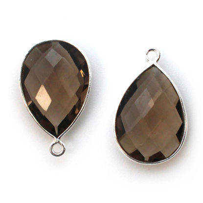 Wholesale Sterling Silver Teardrop Bezel Smokey Quartz Gemstone Pendant, Wholesale Gemstone Pendants for Jewelry Making