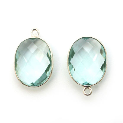Wholesale Sterling Silver Oval Bezel Aqua Quartz Gemstone Pendant, Wholesale Gemstone Pendants for Jewelry Making