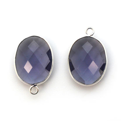 Wholesale Sterling Silver Oval Bezel Iolite Quartz Gemstone Pendant, Wholesale Gemstone Pendants for Jewelry Making