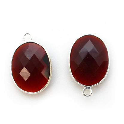 Wholesale Sterling Silver Oval Bezel Garnet Gemstone Pendant, Wholesale Gemstone Pendants for Jewelry Making
