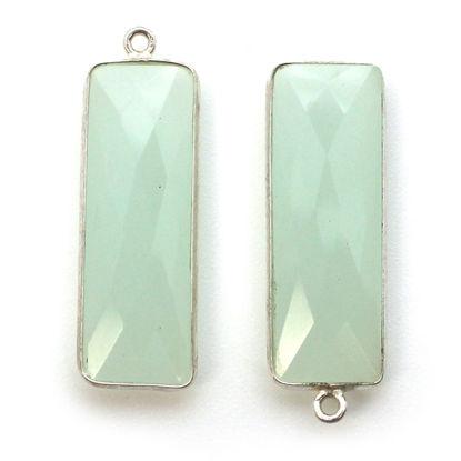 Wholesale Sterling Silver Bezel Charm Pendant - 34x11mm Elongated Rectangle Shape - Aqua Chalcedony