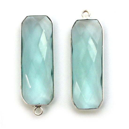 Wholesale Sterling Silver Bezel Charm Pendant - 34x11mm Elongated Rectangle Shape - Aqua Quartz - March Birthstone