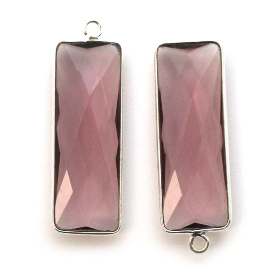 Wholesale Sterling Silver Bezel Charm Pendant - 34x11mm Elongated Rectangle Shape - Pink Amethyst Quartz