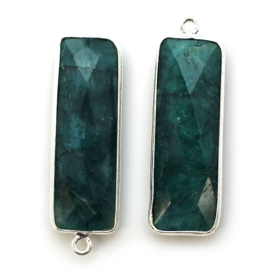 Wholesale Sterling Silver Bezel Charm Pendant - 34x11mm Elongated Rectangle Shape - Emerald Dyed - May Birthstone