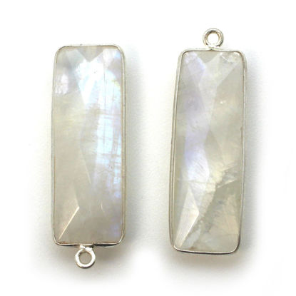 Wholesale Sterling Silver Bezel Charm Pendant - 34x11mm Elongated Rectangle Shape - Rainbow Moonstone - June Birthstone
