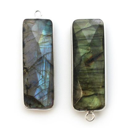 Wholesale Sterling Silver Bezel Charm Pendant - 34x11mm Elongated Rectangle Shape - Labradorite