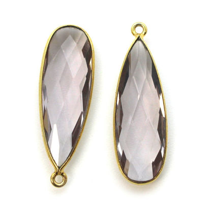 Wholesale Gold plated Sterling Silver Elongated Teardrop Bezel Pink Amethyst Quartz Gemstone Pendant, Wholesale Gemstone Pendants for Jewelry Makinge Pendant, Wholesale Gemstone Pendants for Jewelry Making
