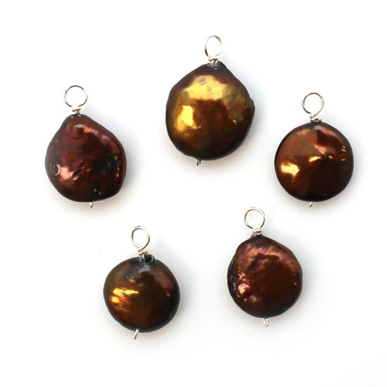 Wholesale Wire Wrapped Dyed Brown Coin Shaped Freshwater Pearl Charm Beads