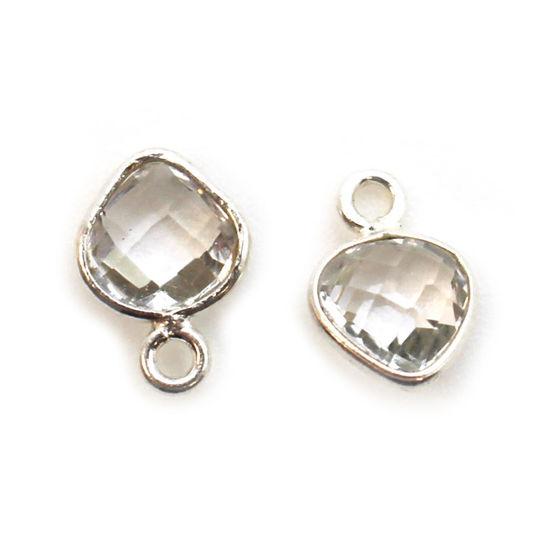 Wholesale Sterling Silver Bezel Charm Pendant - 10x7mm Tiny Heart Shape - Crystal Quartz - April Birthstone