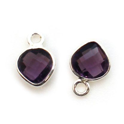 Wholesale Sterling Silver Bezel Charm Pendant - 10x7mm Tiny Heart Shape - Amethyst Quartz - February Birthstone