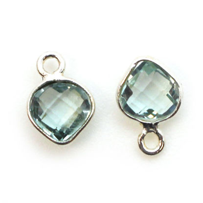 Wholesale Sterling Silver Bezel Charm Pendant - 10x7mm Tiny Heart Shape - Aqua Quartz - March Birthstone