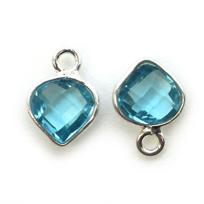 Wholesale Sterling Silver Bezel Charm Pendant - 10x7mm Tiny Heart Shape - Blue Topaz Quartz - December Birthstone