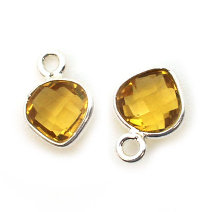 Wholesale Sterling Silver Bezel Charm Pendant - 10x7mm Tiny Heart Shape - Citrine Quartz - November Birthstone