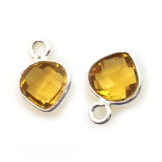 Wholesale Sterling Silver Bezel Charm Pendant - 10x7mm Tiny Heart Shape - Citrine Quartz - November Birthstone