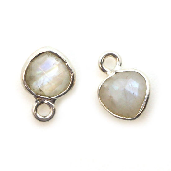 Wholesale Sterling Silver Bezel Charm Pendant - 10x7mm Tiny Heart Shape - Moonstone - June Birthstone