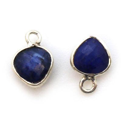 Wholesale Sterling Silver Bezel Charm Pendant - 10x7mm Tiny Heart Shape - Blue Sapphire Dyed - September Birthstone
