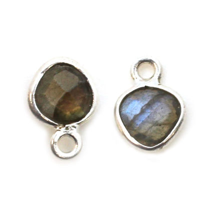 Wholesale Sterling Silver Bezel Charm Pendant - 10x7mm Tiny Heart Shape - Labradorite