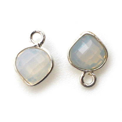 Wholesale Sterling Silver Bezel Charm Pendant - 10x7mm Tiny Heart Shape - Opalite - October Birthstone
