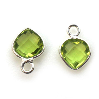 Wholesale Sterling Silver Bezel Charm Pendant - 10x7mm Tiny Heart Shape - Peridot - August Birthstone