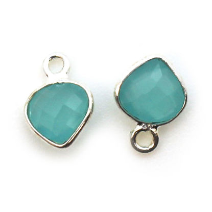Wholesale Sterling Silver Bezel Charm Pendant - 10x7mm Tiny Heart Shape - Peru Chalcedony