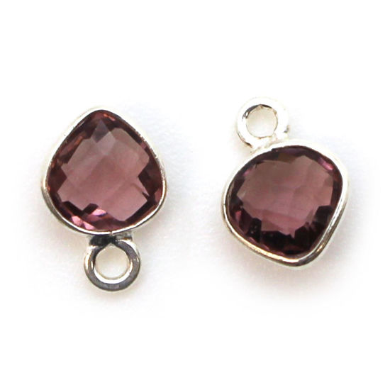 Wholesale Sterling Silver Bezel Charm Pendant - 10x7mm Tiny Heart Shape - Pink Amethyst Quartz