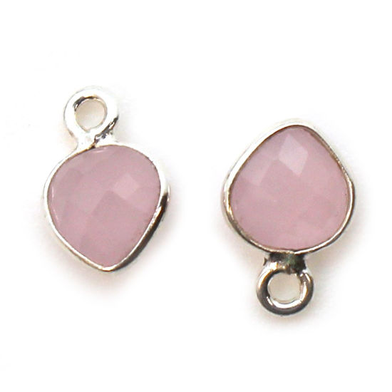 Wholesale Sterling Silver Bezel Charm Pendant - 10x7mm Tiny Heart Shape - Pink Chalcedony