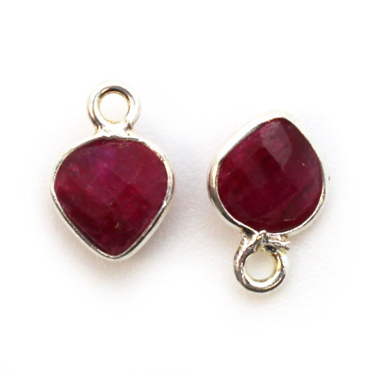 Wholesale Sterling Silver Bezel Charm Pendant - 10x7mm Tiny Heart Shape - Ruby Dyed - July Birthstone