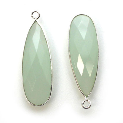 Wholesale Sterling Silver Bezel Charm Pendant - 34x11mm Elongated Teardrop - Aqua Chalcedony