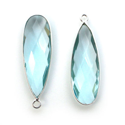 Wholesale Sterling Silver Bezel Charm Pendant - 34x11mm Elongated Teardrop - Blue Topaz Quartz - December Birthstone