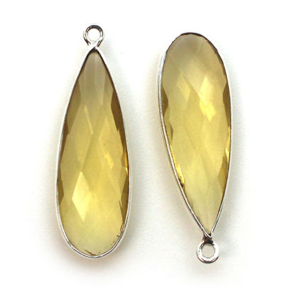 Wholesale Sterling Silver Bezel Charm Pendant - 34x11mm Elongated Teardrop - Citrine Quartz - November Birthstone