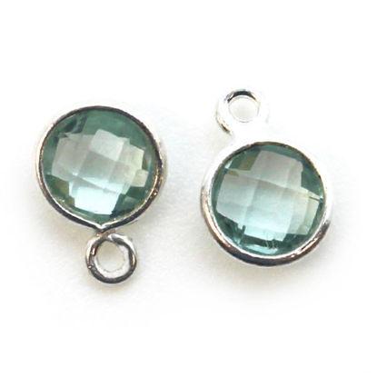 Wholesale Sterling Silver Bezel Charm Pendant - 7mm Tiny Circle Shape - Aqua Quartz - March Birthstone