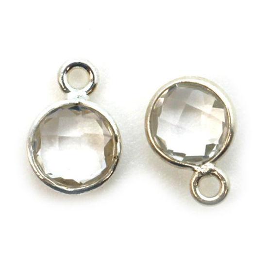 Wholesale Sterling Silver Bezel Charm Pendant - 7mm Tiny Circle Shape - Crystal Quartz - April Birthstone