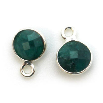 Wholesale Sterling Silver Bezel Charm Pendant - 7mm Tiny Circle Shape - Emerald Dyed - May Birthstone