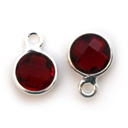 Wholesale Sterling Silver Bezel Charm Pendant - 7mm Tiny Circle Shape - Garnet -January Birthstone