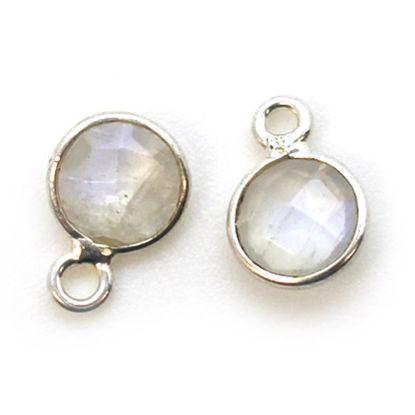 Wholesale Sterling Silver Bezel Charm Pendant - 7mm Tiny Circle Shape - Moonstone - June Birthstone