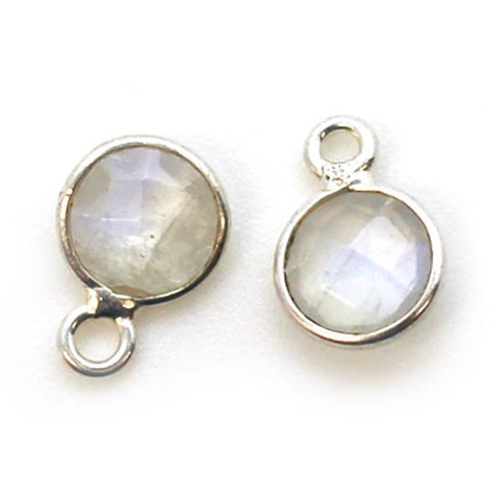 Wholesale Sterling Silver Bezel Charm Pendant - 7mm Tiny Circle Shape - Moonstone - June Birthstone