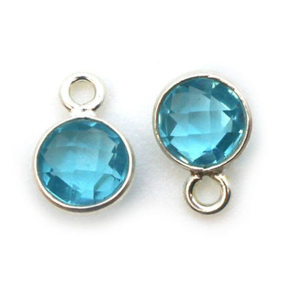 Wholesale Sterling Silver Bezel Charm Pendant - 7mm Tiny Circle Shape - Blue Topaz - December Birthstone
