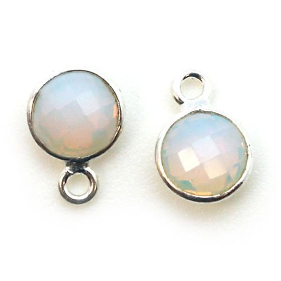 Wholesale Sterling Silver Bezel Charm Pendant - 7mm Tiny Circle Shape - Opalite - October Birthstone