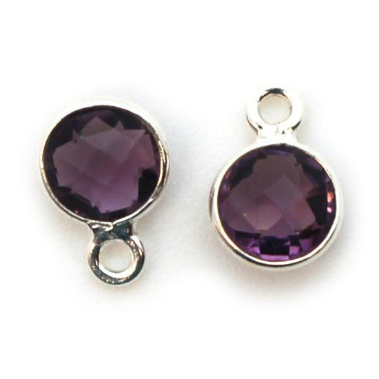 Wholesale Sterling Silver Bezel Charm Pendant - 7mm Tiny Circle Shape - Amethyst Quartz - February Birthstone