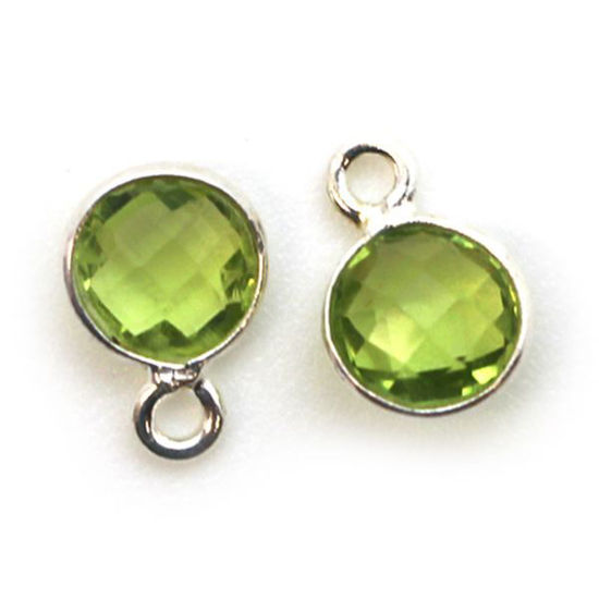 Wholesale Sterling Silver Bezel Charm Pendant - 7mm Tiny Circle Shape - Peridot - August Birthstone