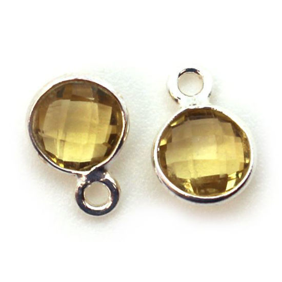Wholesale Sterling Silver Bezel Charm Pendant - 7mm Tiny Circle Shape - Citrine - November Birthstone