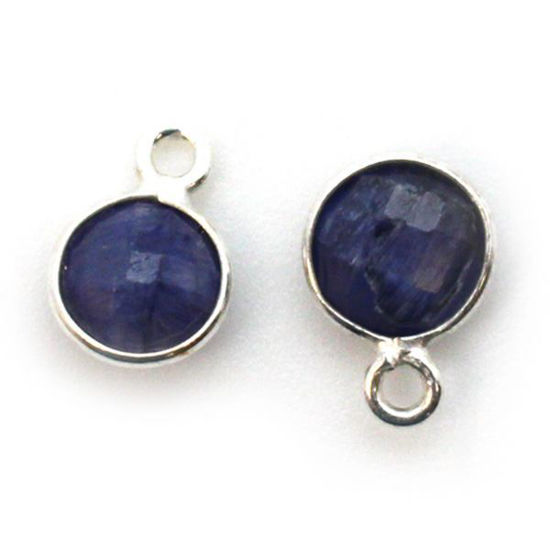 Wholesale Sterling Silver Bezel Charm Pendant - 7mm Tiny Circle Shape - Blue Sapphire Dyed - September Birthstone