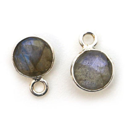 Wholesale Sterling Silver Bezel Charm Pendant - 7mm Tiny Circle Shape - Labradorite