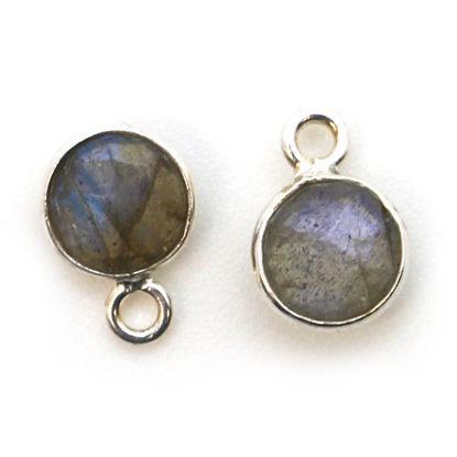 Wholesale Sterling Silver Bezel Charm Pendant - 7mm Tiny Circle Shape - Labradorite
