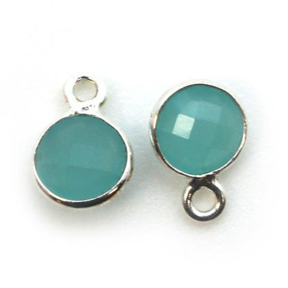 Wholesale Sterling Silver Bezel Charm Pendant - 7mm Tiny Circle Shape - Peru Chalcedony