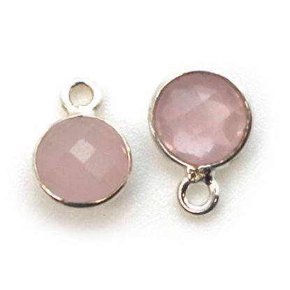 Wholesale Sterling Silver Bezel Charm Pendant - 7mm Tiny Circle Shape - Pink Chalcedony