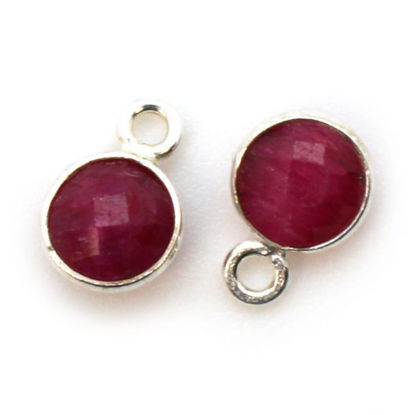 Wholesale Sterling Silver Bezel Charm Pendant - 7mm Tiny Circle Shape - Ruby Dyed - July Birthstone